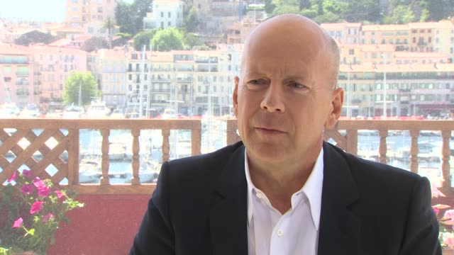 Bruce Willis on acting as a father and on being a protective father at Moonrise Kingdom Interviews 65th Cannes Film Festival at Carlton Beach on May...