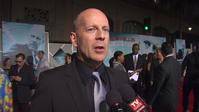 bruce willis on what attracted him to this film on technology and on if it was challenging to play two roles at the 'surrogates' premiere at... - bruce willis stock videos and b-roll footage