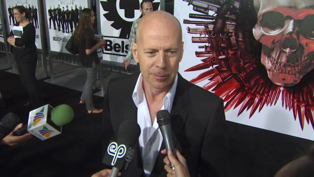 bruce willis on working with such an amazing cast on who he worked with and on what it was like working with them at the 'the expendables' premiere... - bruce willis stock videos and b-roll footage