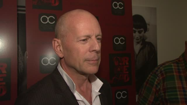 bruce willis says he enjoyed working with the cast and working with helen mirren at the the cinema society oc concept host a screening of 'red' at... - bruce willis stock videos and b-roll footage