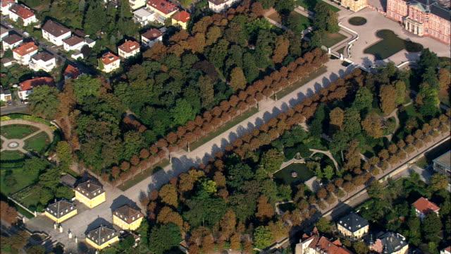 bruchsal castle  - aerial view - baden-württemberg,  karlsruhe region,  landkreis karlsruhe,  germany - baden wurttemberg stock videos and b-roll footage
