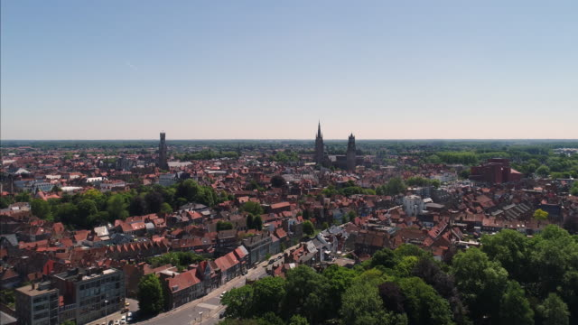 bruges - brugge in belgium aerial view - tourist stock videos & royalty-free footage