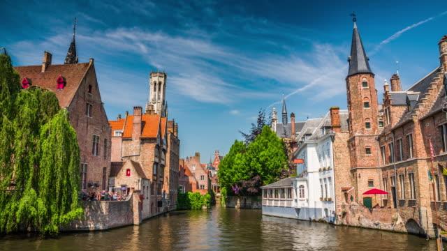 stockvideo's en b-roll-footage met brugge, gebouwen op de dijver canal - europese cultuur