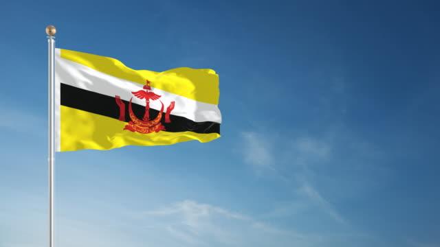 stockvideo's en b-roll-footage met 4k brunei flag - loopbare - paalzitten