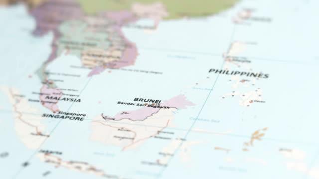 asia brunei on world map - brunei stock videos & royalty-free footage