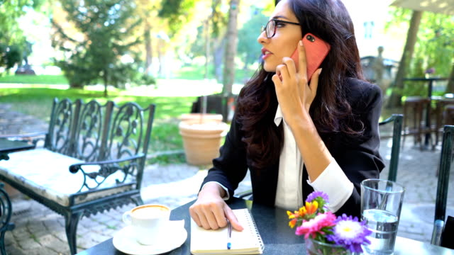 brunette businesswoman talking on the phone and writing down in her journal - diary stock videos and b-roll footage