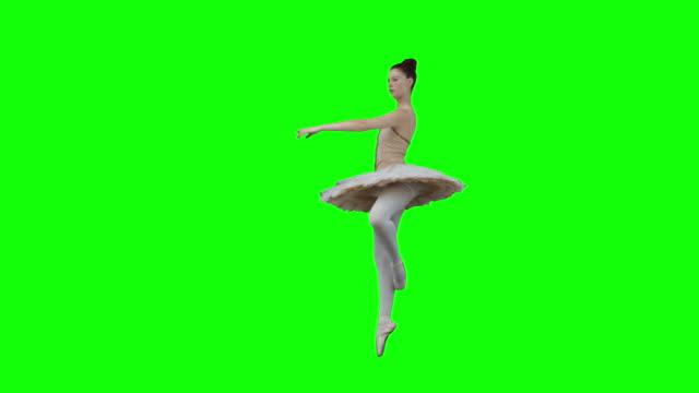 brunette in slow motion dancing a classical ballet - ballett stock-videos und b-roll-filmmaterial