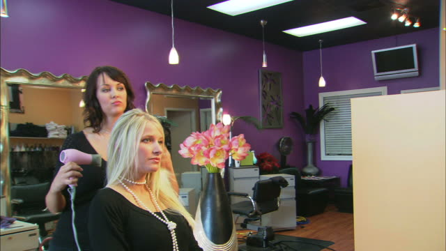 brunette hairdresser blow-drying young blond woman's hair, in beauty salon - blow drying hair stock videos and b-roll footage