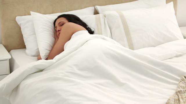 brunette sleeping peacefully - brown hair stock videos & royalty-free footage