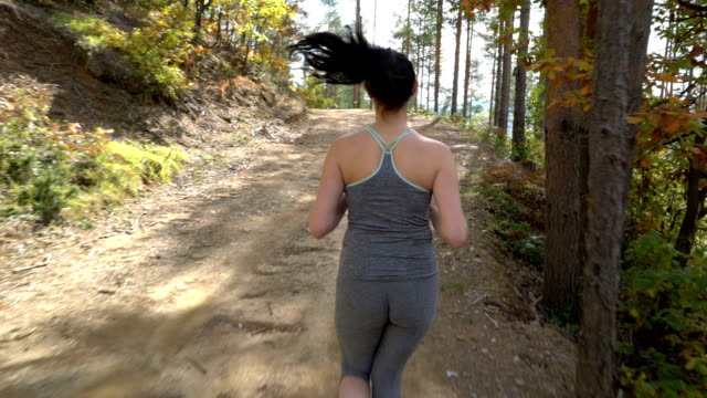 brunette woman running in the forest. - hill stock videos & royalty-free footage
