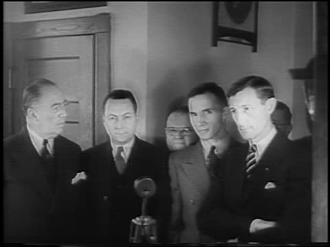 bruno hauptmann lawyers standing by microphone at kidnapping trial / newsreel - 1935 stock videos & royalty-free footage