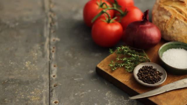 CU PAN Bruschetta ingredients on chopping board / London, UK