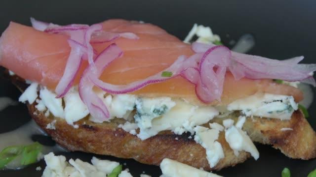 Bruschetta with Blue Cheese and Smoked Salmon