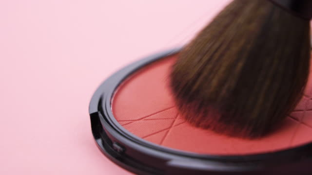 brush on make up with close up shot - beige stock videos & royalty-free footage