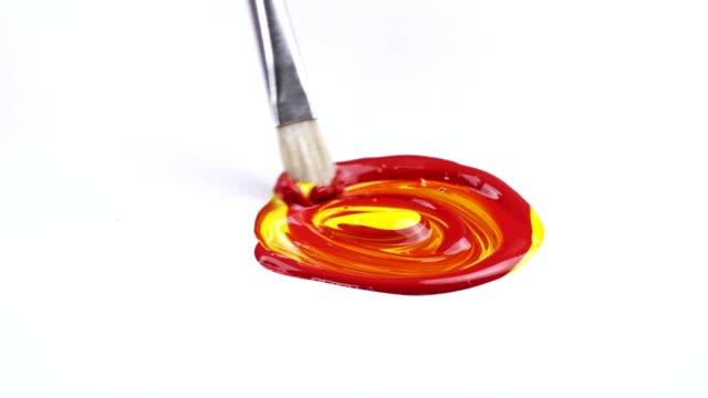 brush painting - tela di canapa video stock e b–roll