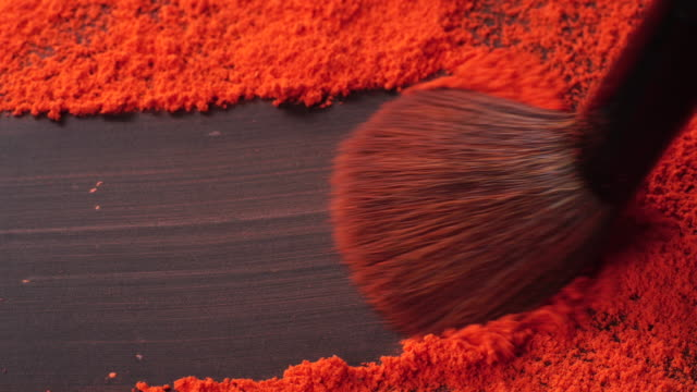 brush picking up powder with copy space - blusher make up stock videos and b-roll footage