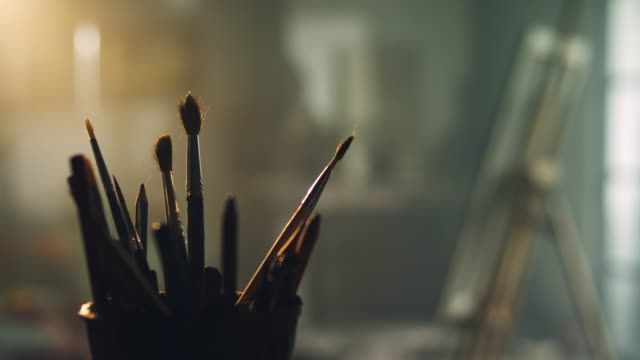 brushes - art studio stock videos & royalty-free footage