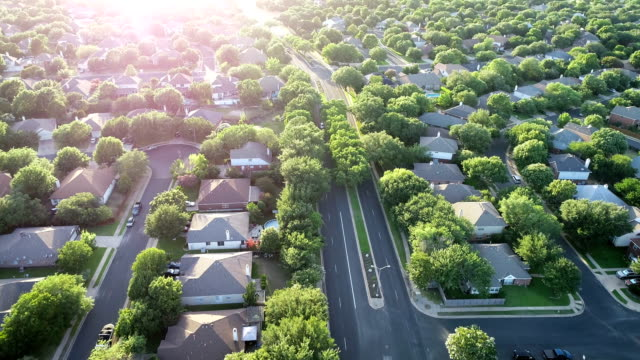 slow motion: brushy creek suburbs north of austin , texas - drone point of view stock videos & royalty-free footage