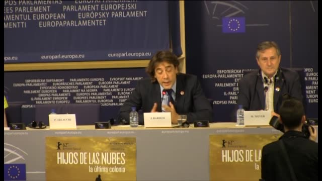 pablo garrigós spanish actor javier bardem has told the european parliament that spain should take the reigns as legal administrator of the... - javier bardem stock-videos und b-roll-filmmaterial