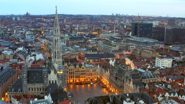 brussels belgium drone aerial viel of grand place brussels the city's town hall, and the king's house or breadhouse. aerial downoown city - brussels capital region stock videos & royalty-free footage
