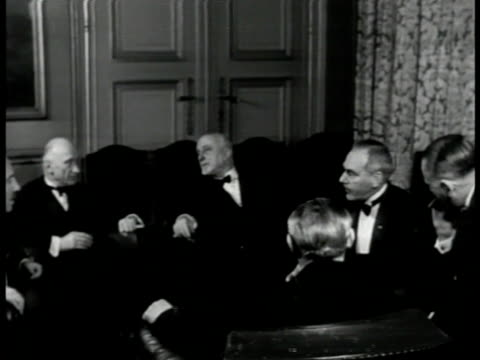 brussels belgium. int vs foreign ministers in meeting including u.s.' dean acheson britain's ernest bevin france's robert schuman & others talking. - 1951 stock videos & royalty-free footage