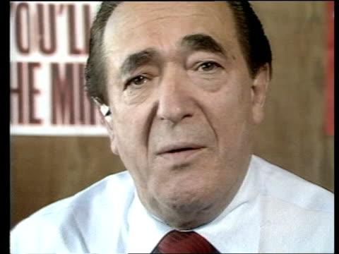 """brussels football disaster: robert maxwell interview; england: london: fleet street: robert maxwell 2-way interview sof. - """"what mrs thatcher -- must... - fleet street stock videos & royalty-free footage"""