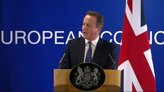 Brussels INT David Cameron MP press conference on the EU renegotiation and question and answer session SOT Within the last hour I've negotiated a...