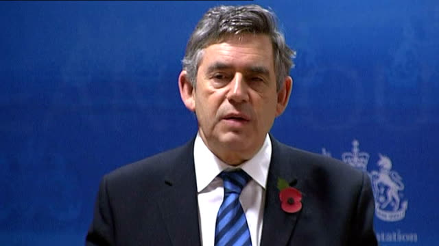 Brussels INT Gordon Brown speech SOT Europe is leading the way making these bold proposals A hundred billion Euro is needed by 2020 much of that to...