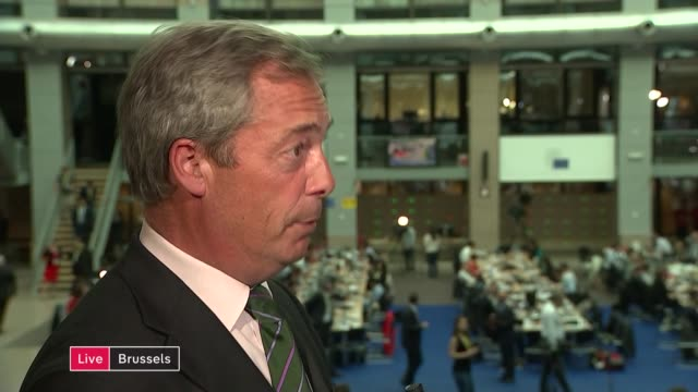brussels int nigel farage mep live interview sot on why he insulted european parliament they were rude abusive shouted me down and i teased them back... - obedience stock videos & royalty-free footage