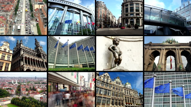 stockvideo's en b-roll-footage met brussel montage - parliament building