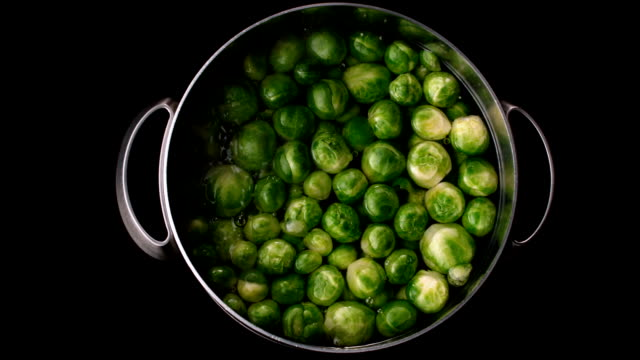 brussels sprouts boiling in pot - cooking pan stock videos & royalty-free footage