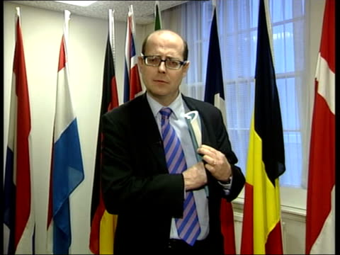 eu constitution deadlock evening news nick robinson england london eu flag pan i/c lms british foreign secretary jack straw mp into room and to... - jack straw stock videos and b-roll footage