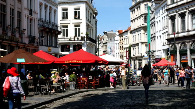 brussels with restaurants and people - brussels capital region stock videos & royalty-free footage