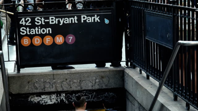 bryant park 42nd st. subway station entry, manhattan – new york city - bryant park stock videos and b-roll footage