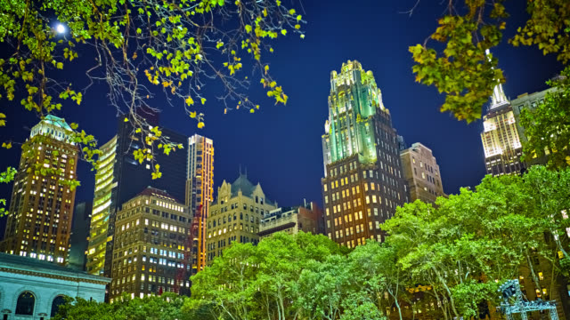 bryant park and architecture background - bryant park stock videos and b-roll footage