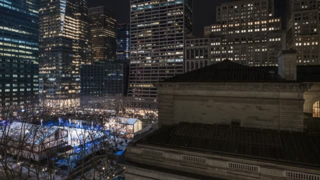 bryant park and new york public library time lapse - bryant park stock videos & royalty-free footage