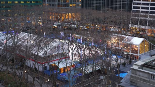 bryant park ice skating time lapse - new york - bryant park stock videos & royalty-free footage