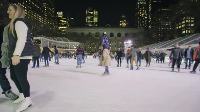 bryant park rink - bryant park stock videos and b-roll footage