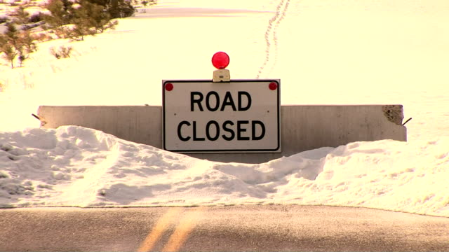 bryce canyon national park, ut - road closed sign stock videos & royalty-free footage
