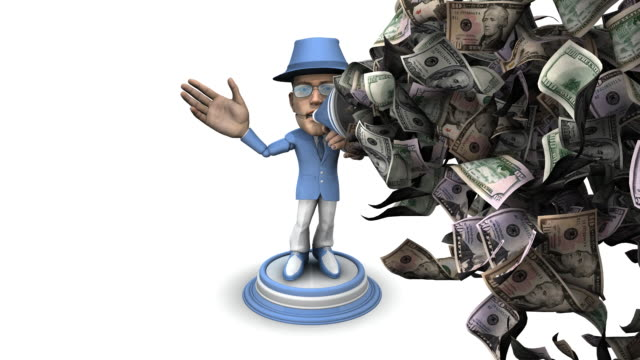 bubblehead businessman with bullhorn and money - spokesman stock videos & royalty-free footage