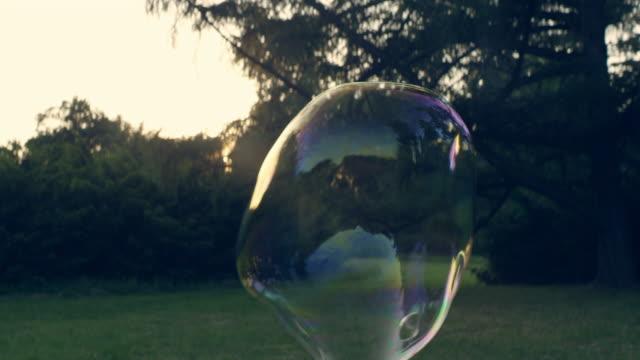 vídeos y material grabado en eventos de stock de burbujas en el parque. diversión veraniega - grande