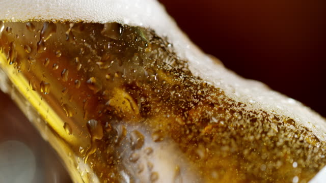 slo mo bubbles of a cold beer in a bottle - beer bottle stock videos & royalty-free footage