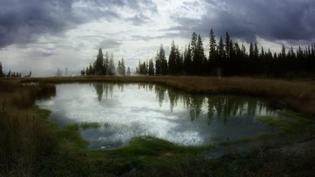 vidéos et rushes de bubbling pond and steam - source naturelle