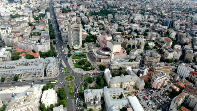 bucharest city center / aerial view - vlad the impaler stock videos & royalty-free footage