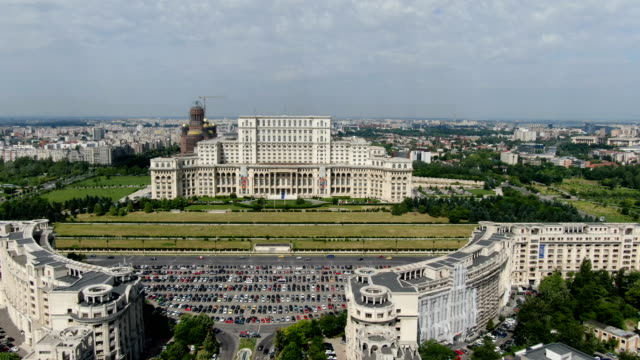 bucharest with palace of the parliament / aerial drone view - vlad the impaler stock videos & royalty-free footage