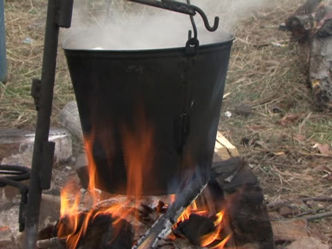 bucket on the fire(ведро на костре) - bucket stock videos & royalty-free footage