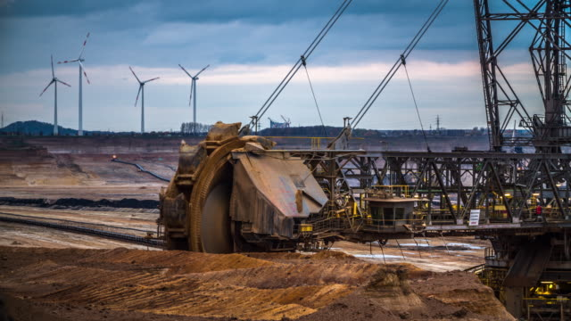bucket wheel excavator in coal surface mine - iron ore stock videos & royalty-free footage