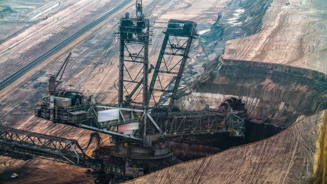 bucket wheel excavator in giant lignite surface mine - surface mine stock videos and b-roll footage