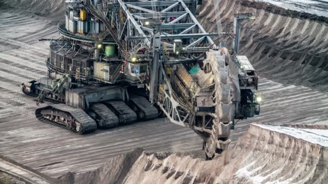 bucket wheel excavator in lignite surface mine - mining stock videos & royalty-free footage