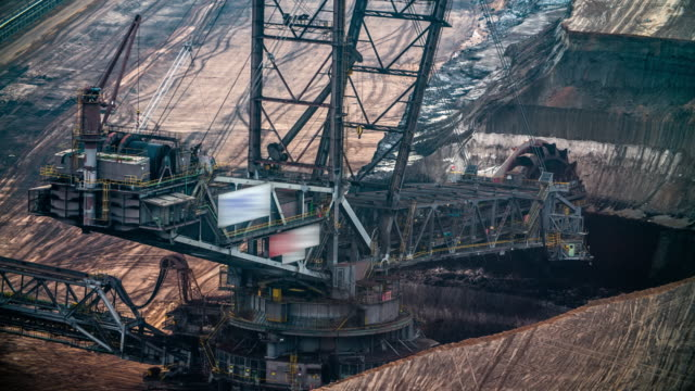 bucket wheel excavator in lignite surface mine - land mine stock videos and b-roll footage